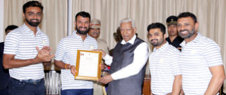 Saurashtra Team with Hon'ble Governor of Karnataka Shri Vajubhai Vala
