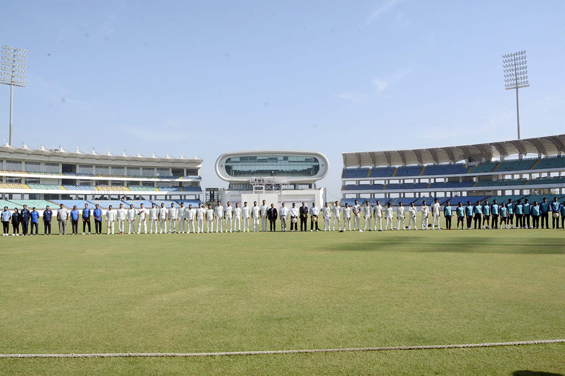 National Anthem was played in presence of both teams, match officials and President & Hon. Secretary of Saurashtra Cricket Association and other dignitaries