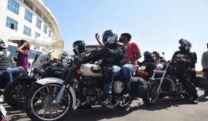 Bikers Club of Ahmedabad at the stadium on 5th day of the Test