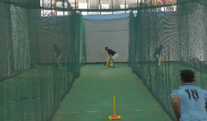 Indoor nets during Conditioning and Fitness Camp at SCA Stadium